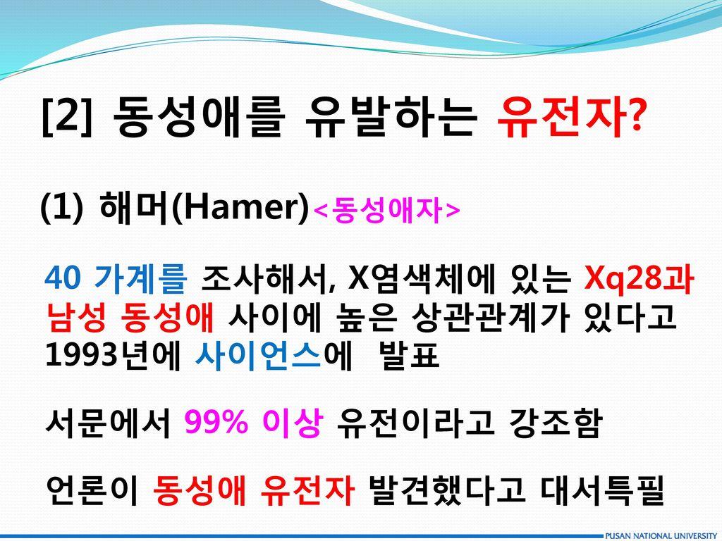[2] 동성애를 유발하는 유전자 (1) 해머(Hamer)<동성애자>